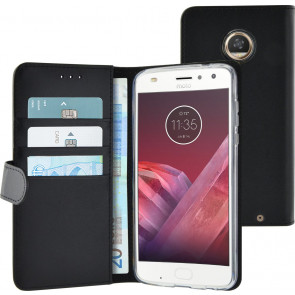 Azuri Azuri walletcase magnetic closure and cardslots zwart Motorola Moto Z2 Play